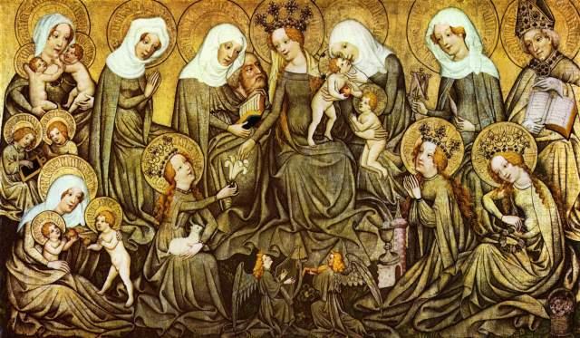 Ołtarz z Ortenbergu z 1420 roku dodaje do Klanu kobiecego trzy święte, Barbarę, Agnes i prawdopodobnie Dorotę. Orgia kobiecości.