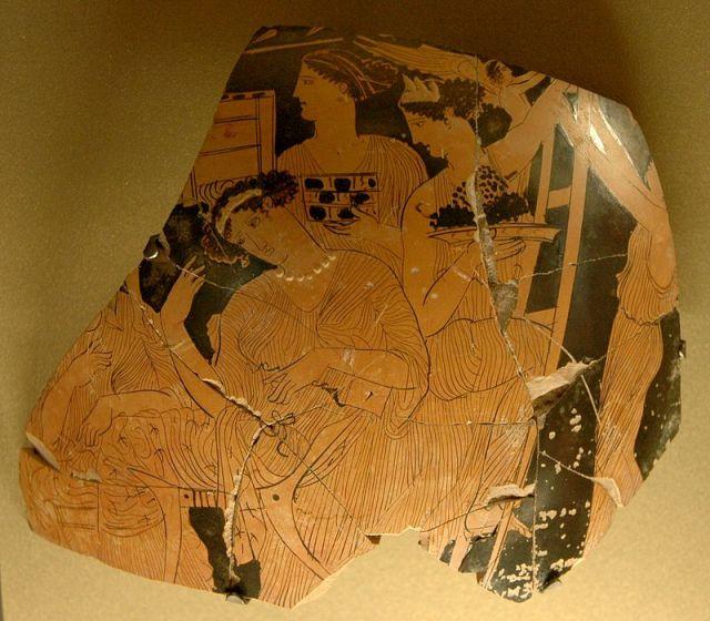 Fragment ceramiki z Luwru przedstawiający święto Adonisa